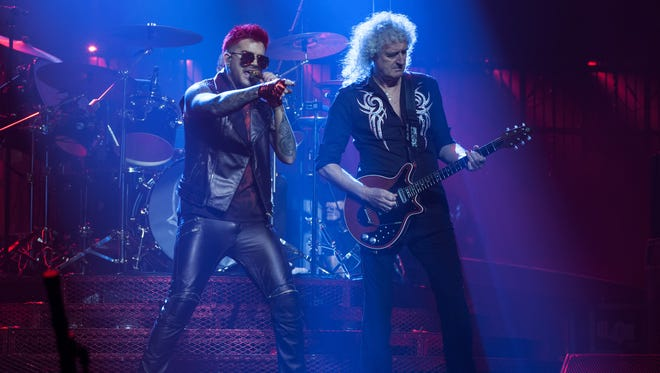 Adam Lambert and Brian May of Queen + Adam Lambert perform in Vancouver. The band played Barclays Center in New York Friday as part of its ongoing North American tour.
