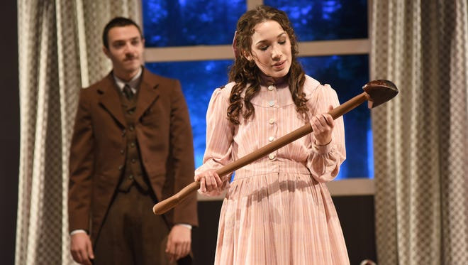 """Audrey Pfeifer as Iris and Fargo Tbakhi as her """"client,"""" Mr. Woodnut, in Arizona State University's production of """"The Nether."""""""