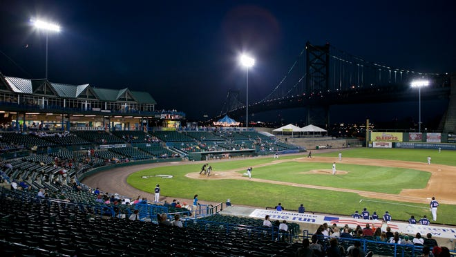 The Long Island Ducks game against the Camden Riversharks, Wednesday, July 30, 2014 at Campbell's Field in Camden.