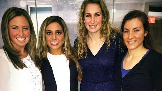 The four members of the University of Iowa field hockey team who filed a civil rights complaint against UI are pictured at their recent team banquet. From left are senior Dani Hemeon, junior Natalie Cafone and sophomores Chandler Ackers and Jessy Silfer.