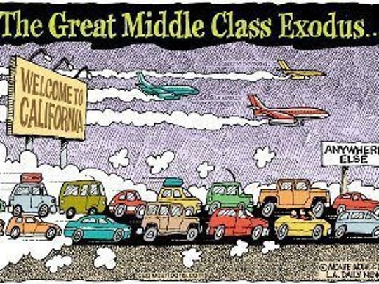 Middle class resident of the Golden State are fleeing California for states like Arizona, Nevada and, yes, Florida.