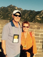 Tass Morrison, right, and Tom Anderson at summit of the Juyong Pass of China's Great Wall.