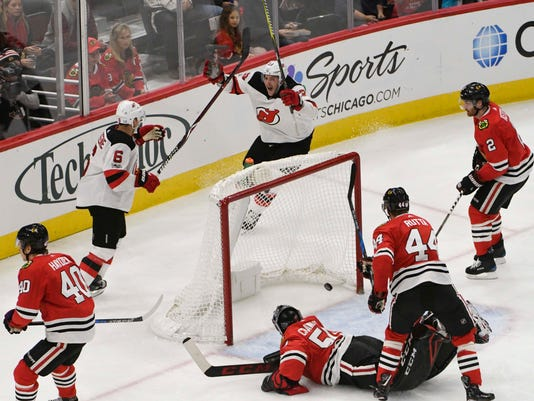 Miles Wood gets first hat trick in Devils  wild 7-5 win over Blackhawks d15c5d948