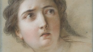 "Charles-Antoine Coypel (1694-1772), ""Head of Potiphar's Wife,"" black chalk and pastel on discolored blue antique laid paper."