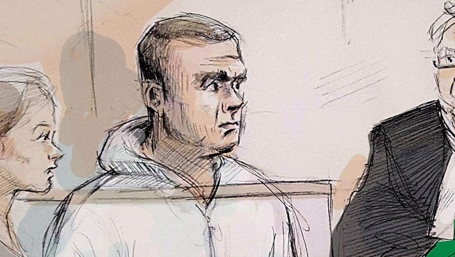 In this courtroom sketch, duty counsel Georgia Koulis, from left, Alek Minassian, Justice of the Peace Stephen Waisberg and Crown prosecutor Joe Callaghan appear in court in Toronto on April 24, 2018.