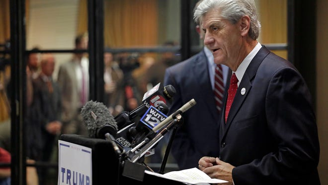 Gov. Phil Bryant speaks during a press conference at MSGOP headquarters in Jackson Wednesday.