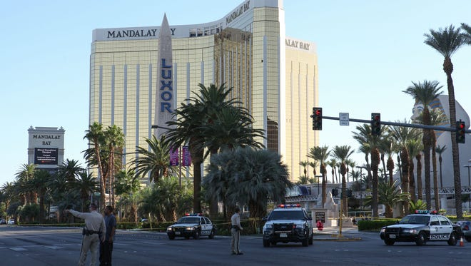 Police maintain a large perimeter around the Mandalay Bay in Las Vegas, October 2, 2017.