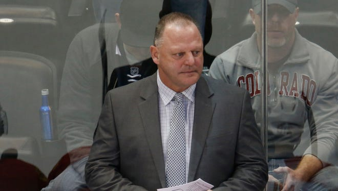 Florida Panthers coach Gerard Gallant looks on against the Colorado Avalanche on March 3, 2016, in Denver.