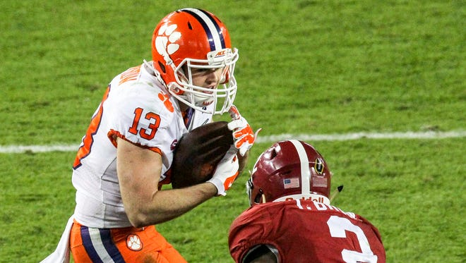 Clemson wide receiver Hunter Renfrow (13) catches the winning touchdown during the fourth quarter of the National Championship game at Raymond James Stadium in Tampa, Florida, in January 2017.