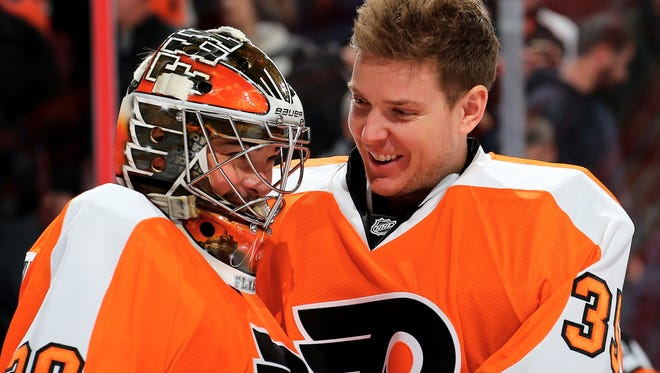 Steve Mason, right, played in 54 games this season to Michal Neuvirth's 32.