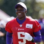 Minnesota Vikings quarterback Teddy Bridgewater runs to another field during practice at an NFL football training camp on the campus of Minnesota State University Wednesday, July 29, 2015, in Mankato, Minn. (AP Photo/Charles Rex Arbogast)