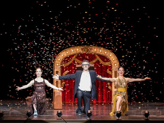"Dancer Anna Bass (left), radio host Ira Glass and choreographer Monica Bill Barnes from the show ""Three Acts, Two Dancers, One Radio Host."""