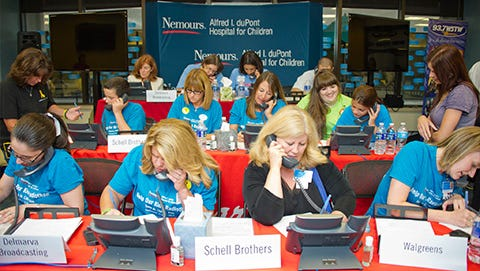 Volunteers answer phones during the 2013 Help Our Kids Radiothon to support Nemours/Alfred I. duPont Hospital for Children.