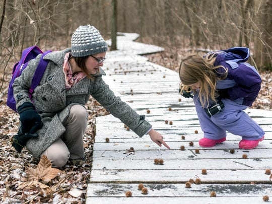 Program Naturalist Kristine Heilman points out the small foot and wing tracks of a songbird imprinted in the snow as Alison Rodenburg, 6, uses her magnifying glass to take a closer look during the Family Discovery Hike along the Wesselman Woods Nature Preserve in Evansville, Ind., Tuesday, Dec. 26, 2017. Heilman lead a small group of bundled-up hikers along parts of the Main, Tulip Ridge and Newburgh Trails to take in the sights and sounds of the outdoors. Wesselman Nature Society is holding daily programs for children and families all week long including crafts, science lessons and more hikes. All activities are included with the regular nature center admission fee, $5 for adults and $3 for children (ages 3-12).