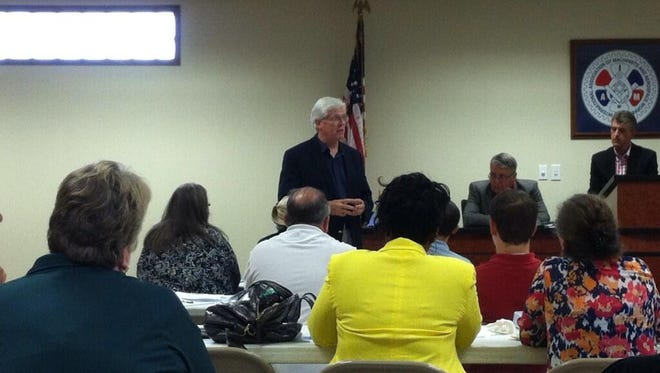 Democratic gubernatorial candidate Jack Hatch speaks to the Iowa Democratic Party's governing board on Saturday, July 12, 2014.