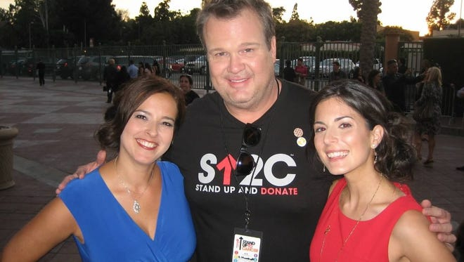 """Eric Stonestreet, a star on TV's """"Modern Family,"""" with Rockland teachers Jennifer Harrington, left, and Amy Leibel at the Stand Up to Cancer fundraiser in Los Angeles in 2012."""