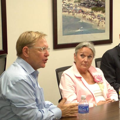 From left, Pensacola businessman Quint Studer; Martha