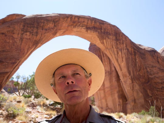 Interpretive Park Ranger Mike Young talks about Rainbow Bridge.