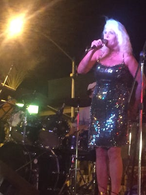 Calista Carradine performs at the Vortex Art & Music Festival with Buddy Greco Jr. on drums