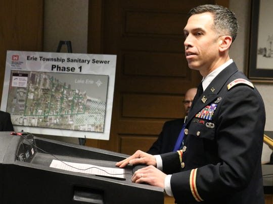 Lt. Col. Adam Czekanski, U.S. Army Corps of Engineers Buffalo District Commander, speaks about a sewer combination project set to tap 173 homes in Erie Township into Port Clinton's wastewater treatment plant.