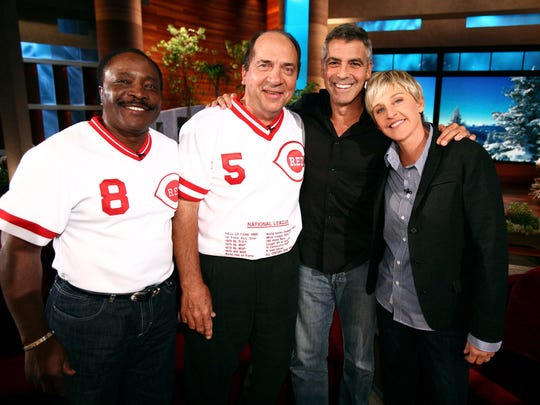 """Talk show host Ellen DeGeneres finally lures George Clooney to her show with  the former Cincinnati Reds' Hall of Fame baseball players Johnny Bench and Joe Morgan during a taping of """"The Ellen DeGeneres Show."""""""