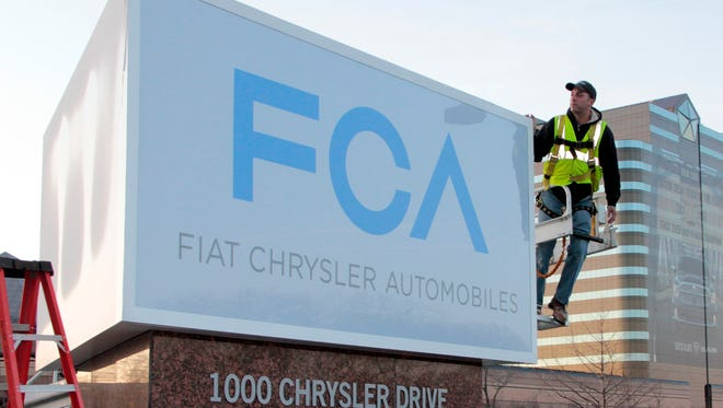 Sign changes Chrysler's name to Fiat Chrysler Automobiles. Stock in the combined Fiat-Chrysler automnker, FCA, is to begin trading Monday, Oct.13,, on the NYSE.