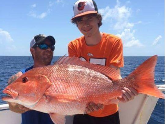 Red snapper, like this one caught aboard the Fort Pierce Lady, will be permitted to come home for dinner July 12, 13, 14, 19 and 20.