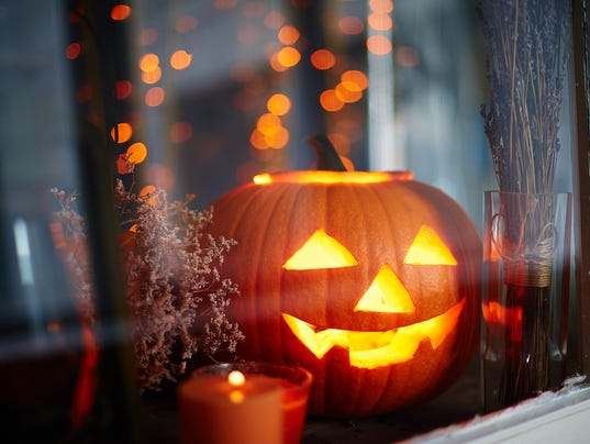 Jack-o-lantern in window
