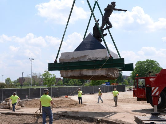 The statue was moved a few yards to the east, which will be a temporary spot for it amid $50M renovation project.