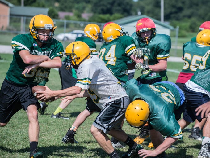 First day of practice with full pad for Pennfield High