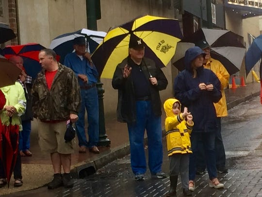 People lined the streets of downtown Staunton to watch