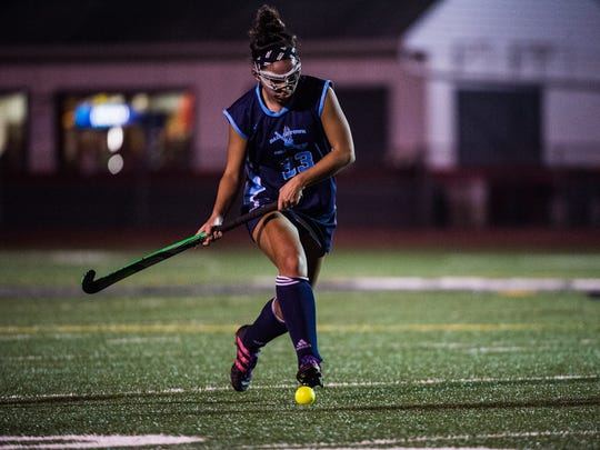 Dallastown's  Katie Doherty keeps on the ball against Susquehannock on Thursday Oct. 20, 2016 during the YAIAA field hockey championship game at Bermudian Springs High School.  Dallastown defeated Susquehannock 5-0.