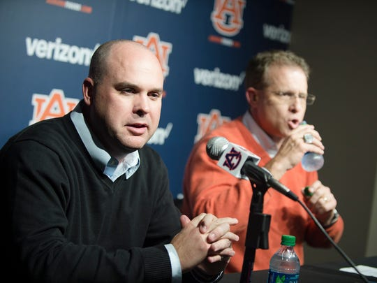 Chip Lindsey speaks during a press conference after
