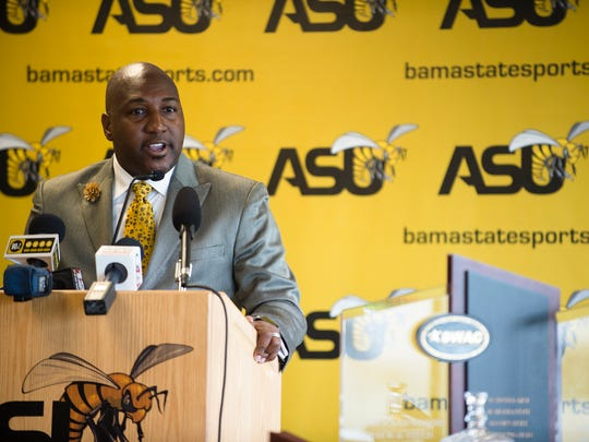 ASU Director of Athletics Melvin Hines speaks during