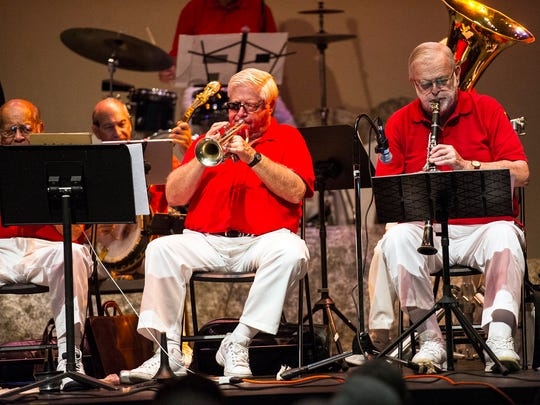 Trumpet player Marc Gerber (left) and clarinet player Lance Schulz (right) perform Dixieland Jazz with the Naples Jazzmasters at The Norris Community Center  in Naples, Fla,. on Saturday, July 8, 2017.