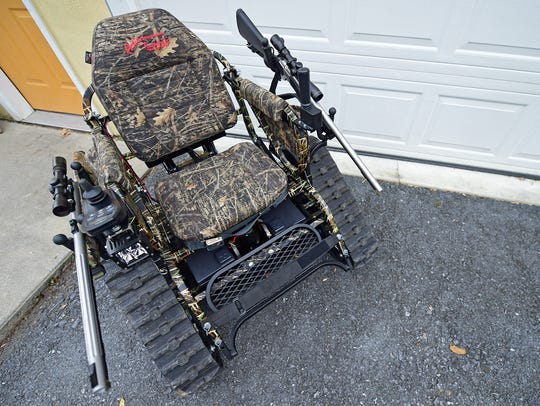 An Action Trackchair sits outside Ed and Kate Fisher's