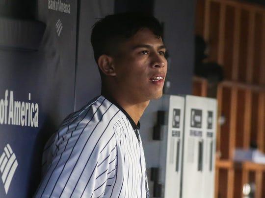 New York Yankees pitcher Jonathan Loaisiga (38) watches