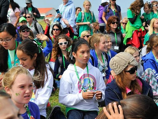 Girl Scouts Of The USA And National Park Service Host A Girl Scout Bridging Ceremony At The Golden Gate Bridge
