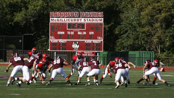The scoreboard at Harrison High School's McGillicuddy