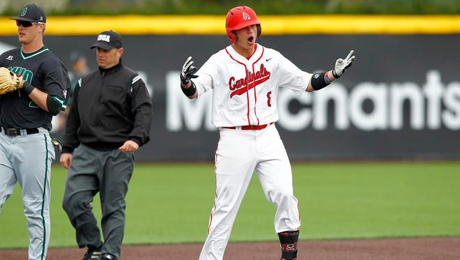 FILE --- Alex Call competes for Ball State during his career with the Cardinals.