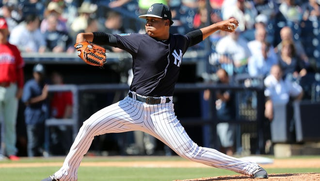 Yankees relief pitcher Justus Sheffield throws a pitch during the fifth inning against the Philadelphia Phillies at George M. Steinbrenner Field on March 9, 2018.