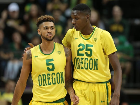 Oregon senior forward Chris Boucher provides words