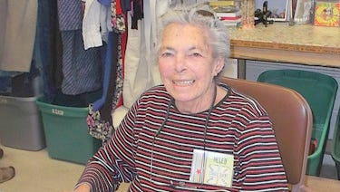 Longtime thrift store volunteer Helen Matelson helps out at Single Socks.