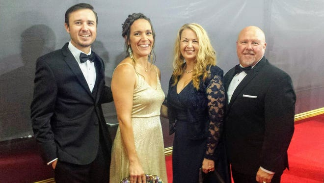 From left to right: Jarrod Burt, Sarah Burt, Donnie Burt and Sen. Bill Burt stand for a photo at the  69th Primetime Creative Arts Emmy Awards red carpet Saturday, Sept. 9 at the Microsoft Theater in downtown Los Angeles.