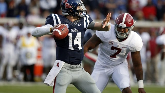 during the second half of an NCAA college football game in Oxford, Miss., Saturday, Oct. 4, 2014. No. 11 Mississippi won 23-17. (AP Photo/Rogelio V. Solis)