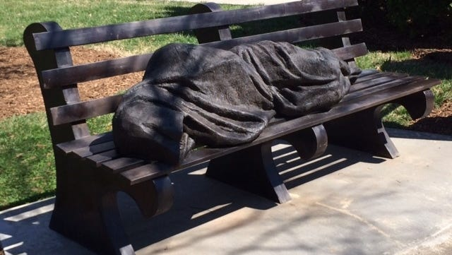 'Homeless Jesus,' a bronze sculpture by Timothy P. Schmalz, was installed at St. Alban's Episcopal Church in February.