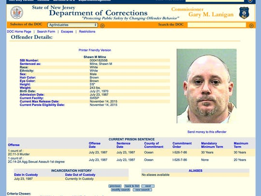 Shawn Milne's Nj Department of Corrections inmate page is shown recently.  Milne, who was charged with the death of Barbara Renee Harrison when he was 15, is set to be released from prison after serving a 30-year term. ~
