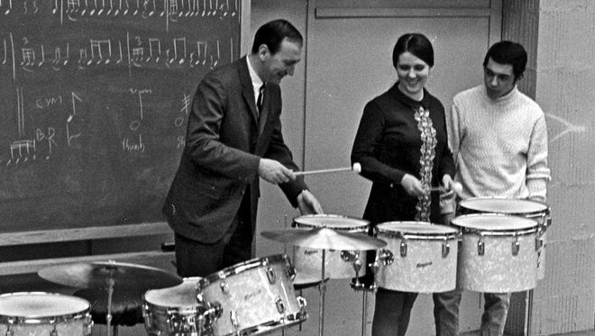 Pictured is Eastman's first class of Percussion majors (1968), taught by then-Professor of Percussion John Beck, standing next to Ruth Cahn and Steve Gadd.  The third member of the class was Bill Cahn, who's taking the photo.