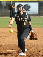 Abilene High pitcher Kaylen Washington throws a pitch during the Lady Eagles' 8-3 loss to Keller in the District 3-6A opener for both teams Tuesday at the AHS softball field.