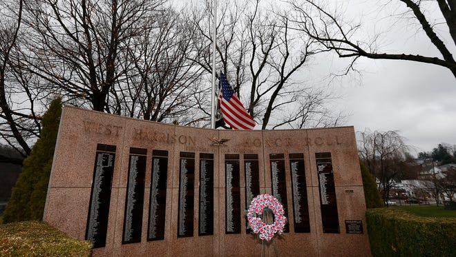 An American Flag at half staff at Veterans Memorial Park in West Harrison on Tuesday, Dec. 22, 2015.